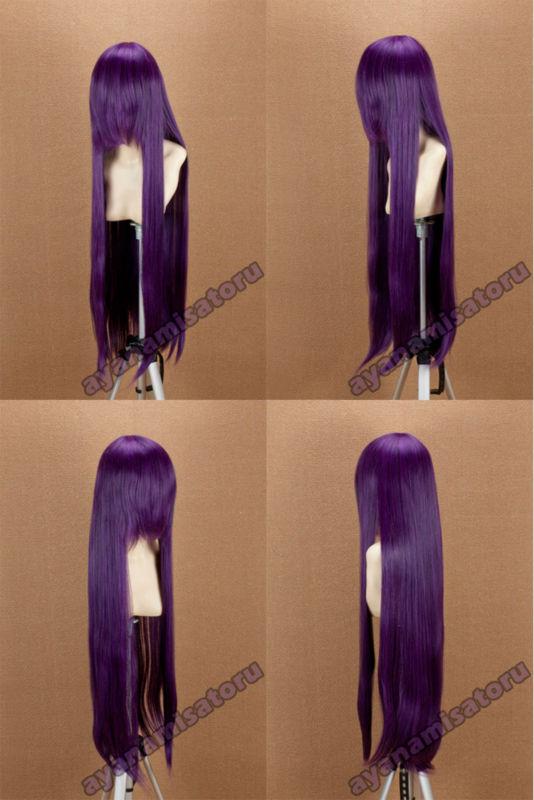 Long 100cm cosplay wig blackpurple Sailor Moon Hino Rei(China (Mainland))