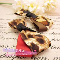 8072 phlobaphene hypocritically large leopard print bow side-knotted clip autumn and winter popular hairpin hair accessory