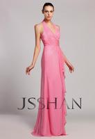 12B031 Halter V-Neck Ruching Ruffle Chiffon Formal Prom Junoesque Elegant Gorgeous Bridesmaid Dress Fancy Dress Party
