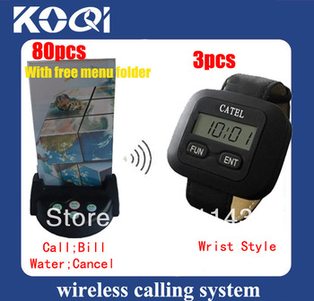 Wireless service calling system ,80pcs bells with 4 choice, call,bill,water,cancel +3pcs wrist receivers