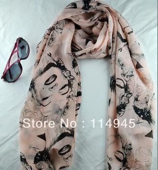 Lady's fashion chiffon scarves trendy design Marilyn Monroe women scarf elegant Wraps Free shipping 28pcs/lot