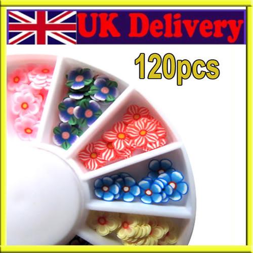 120x 3D Mix Flower Fimo Slice Nail Art Tips Stickers UV Acrylic Decoration Wheel[200410]