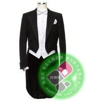 Male formal dress big tuxedo black dovetail formal dress black tuxedo men's clothing male suits marriage