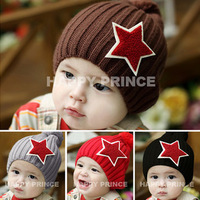 Beautiful baby child baby yarn autumn and winter hat classic fashion big five star embroidered logo pocket hat