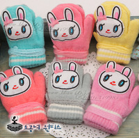 Beautiful baby long ears rabbit child gloves baby gloves yarn cartoon thermal gloves