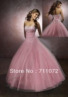 Best Selling Popular Sweetheart Ball Gown Floor Lenth Tulle Embroidery Beaded Princess Prom Dress Quinceanera Dresses 2013