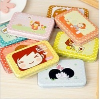 South Korea stationery lovely tin box pack cartoon biscuit girl receive a box of mobile phone sticker diary sticker 7876