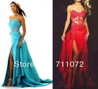 Best Design Sexy Sweetheart Sheath Panel Train Silky Taffeta Applique Beaded lace Split Blue And Red Prom Dress