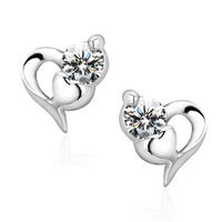 Silver 925 pure silver stud earring Women heart earring anti-allergic Lovely 925 Sterling Siver CZ Earrings #EA100461