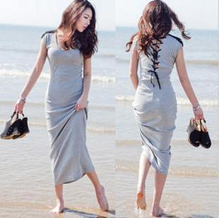 FREE SHIPPING sexy one-piece dress mopping the floor full dress bohemia slim long   racerback beach dress