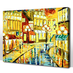 Abstract Oil Painting for Sale Bright City Lights Themed Paint by Numbers Kit for Beginners and Children 16*20''/20*24''(China (Mainland))