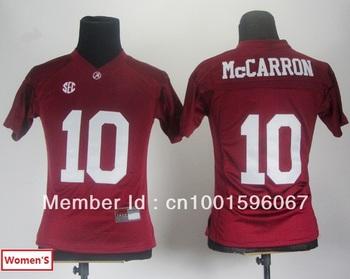 Wholesale- Women's  Alabama Crimson Tide AJ McCarron 10# White College Football Jersey 2012 SEC Patch Size:S~XXL