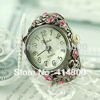 2014 Elegant fashion finger table ring steel strip watches for women rhinestone table
