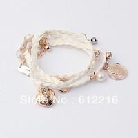 Min. Order is $15USD(mix order) High Quality! Korea Charms Fashion Pearl Weave Bracelet Bangles SJA658 8090 Jewelry