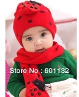 10pcs/lot free shipping+ Baby ladybug hat and scarf set ladybird DR.Cotton CAP HATS Beetle sets baby Winter hat