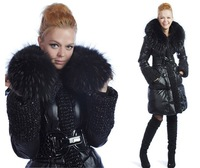 2012 New Arrival Women's Long Down Jacket Luxury Real Fur Collar Ladies Winter Coat Thick Black XXL Hoodies Hot selling WD2020