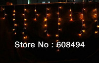 200LED 5M curtain icicle lights Christmas Garden lamp Xmas Wedding Party Decoration Snowing curtain light- WARM WHITE