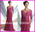 Fuschia One Piece V Neck Beaded Lace Mother of the Bride Dresses Gowns Chiffon M1220