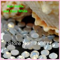 Free Shipping! 1440 pcs/Lot, ss4 (1.5-1.6mm) Good Quality White Opal Nail Art Glue On / Non Hotfix Rhinestones