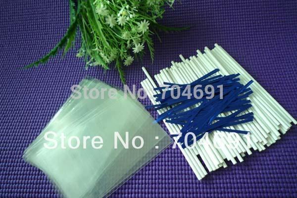 """Neue 100 x 6""""( 15cm) kuchen pop papier-sticks lutscherstielen& 3.5x5"""" cello taschen metallic verpackungsdraht"""