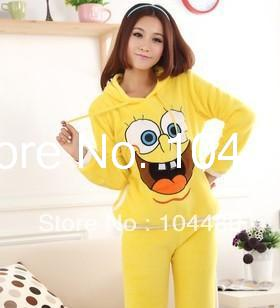 fashion women pajamas lovely ladies winter coral fleece cartoon SpongeBob long-sleeved  nightwear /adult female cartoon pajamas
