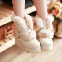 Женские ботинки 2012 snow boots platform thermal flat heel medium-leg fur \ flat boots plus size 34-43