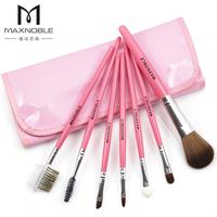 7 cosmetic brush set blush brush eye shadow brush eyebrow brush pink japanned leather bag