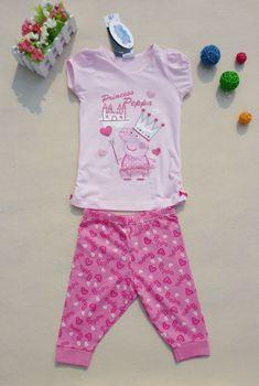 free shippping peppa pig girl clothing pink short sleevd t shirt + short pants sets suits