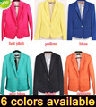 10pcs/lot~Lady Womens Candy Colors One Button Suits Tunic Foldable Sleeve Blazer Jacket~6 colors available,DHL FREE SHIPPING