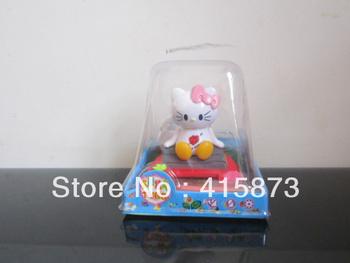 Free shipping (18pcs) solar nodding head mini cute cat solar flip flap solar novelty toys