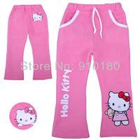 New arrivals Wholesale 6pcs/lot Hello Kitty girls cartoon Fleece trousers,cotton long pants kids pants+Free shipping