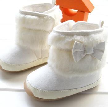 New winter popular baby girls beige bowtie warm footwear boots toddler rubber sole non-slip snow boots 3pair/lot 8883B