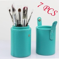 7pcs cosmetic makeup brushes nylon fiber powder brush set kits cylinder case