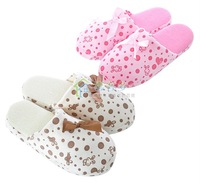 Free Shipping Female/butterfly knot/soft/short fabric/Household slippers/Slip bottom/Autumn and winter/ cotton slippers