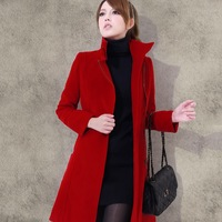 Free shipping  woolen overcoat faux slim fashion woolen outerwear female medium-long thick outerwear women's coats