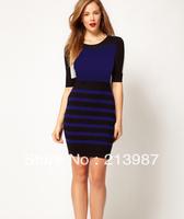 Free shipping! 2012 km fashion print zebra print stripe slim sleeveless o-neck KM dress dn174