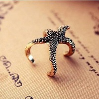 Min.order is $10 (mix order) 21A29  Fashion personality cute exaggeration starfish ring wholesale free shipping