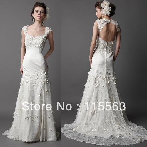 Custom Made Free Shipping Cap Sleeve Lace White Gown Lining Princess Elegant Wedding Party Dress Ebay 2012(China (Mainland))