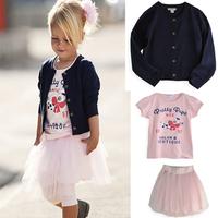New Girls 3 piece set fashion coat jacket +skirt+fillibeg,dress girls tutu set, free shipping