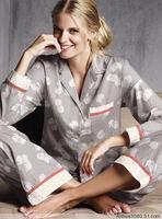 Sleepwear autumn and winter long-sleeve 100% cotton flannel women's lounge set grey dancingly 2 piece set