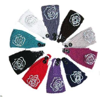 2013 free shipping rhinestone flower Handmade headband Knit Headwrap crochet Headbands headwear new fashion 50pcs
