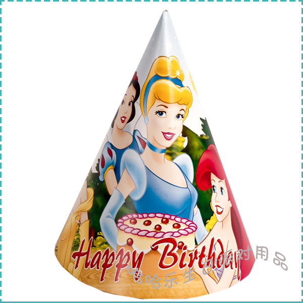 Free shipping Birthday supplies party supplies child birthday hat cartoon cap princess(China (Mainland))