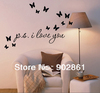 "[funlife]-56x16cm (22""x6"") PS I Love You + 3d vivid Butterflies Vinyl Art Mural Wall Quote Saying decals"