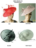 BIG Sinamay Fascinator/Sinamay Hat with diameter 35cm,Feather and Veiling Trim.4 colors.