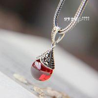 Free shipping  sparking 925 pure silver garnet pendants women's
