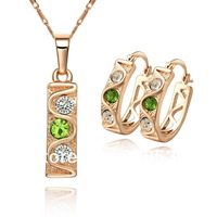 Hot, high quality. Free shipping wholesale 18K CC color Rhinestone Crystal Gold plated  jewelry set. Factory price. ss004