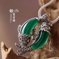 Free shipping 925 pure silverfemale agate opal dollarfish pendant
