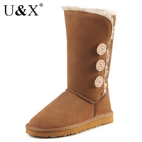 Ux top cowhide high three button snow boots 1873 genuine leather boots