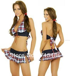 Free Shipping New Sexy School Girl Bra Top Plus Mini Skirt Plaid School Girl Costume(China (Mainland))