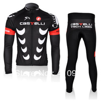 Free Shipping!New!CASTELLI Team Black Cycling Jersey/Cycling Wear/Cycling Clothing+Long Pants-C027